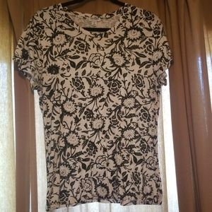 Black and white floral tee